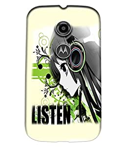 Fuson Music Girl Back Case Cover for MOTOROLA MOTO E2 - D3724