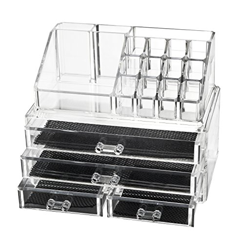 wolfteeth-clear-acrylic-make-up-organiser-case-2-pieces-set-total-20-sections-with-4-drawers-5007