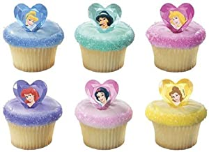 Disney Princess Jewel Heart Ring Cupcake Topper (Set of 12)