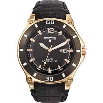 c235dd1f97 + Hector H - 666001 - Montre Homme - Quartz Analogique - Cadran Noir -  Bracelet Cuir Noir: Montres