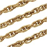 Antiqued 22K Gold Plated 4mm Thick Twisted Rope Chain Bulk By The Foot