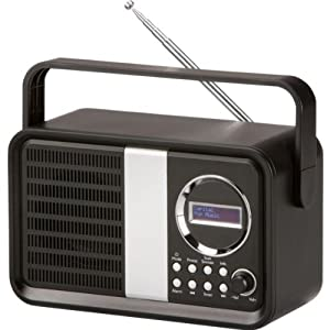 bush dab fm portable digital radio alarm clock in gloss black ebay. Black Bedroom Furniture Sets. Home Design Ideas
