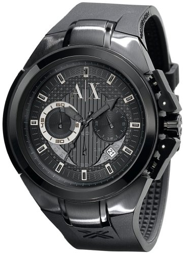 Armani Exchange Men's AX1050 Black Rubber Quartz Watch with Black Dial