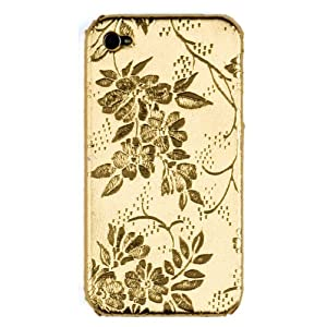 Gold Flowers Case for Apple iPhone 4, 4S (AT&T, Verizon, Sprint)