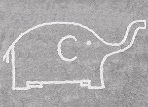 Aratextil. Alfombra Infantil 100% Algodón lavable en lavadora Colección Elefante Gris / Blanco 120x160 cms