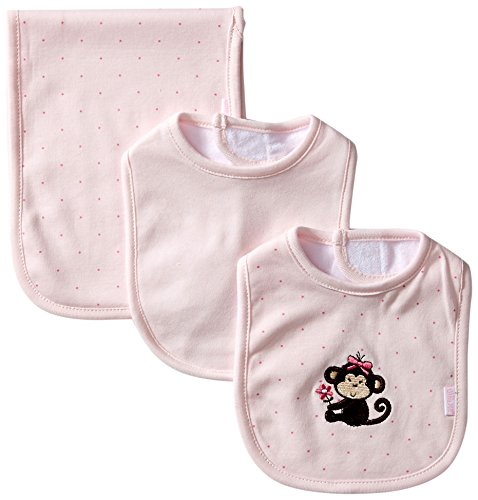 Little Me Baby-Girls Newborn Girl Monkey Bib and Burp, Light Pink, One Size