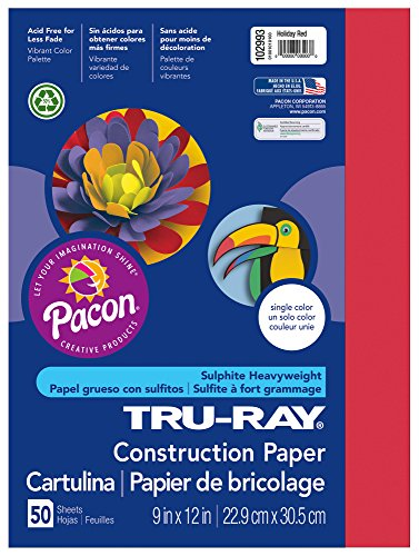 """Tru-Ray Construction Paper, 9""""X12"""", Holiday Red, 50 Sheets - 1"""