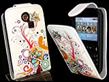 Goldstar® Flower PU Leather Flip Case Cover For Various Samsung Models, Galaxy Ace, S2, S3 Mini, Chat (Swirl Flower, Cha@t335 Chat S3350)