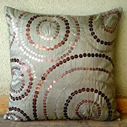 Silver Notions - Throw Pillow Covers - Silk Pillow Cover with Sequins