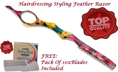 Elegant Solingen -Hairdressing Styling Feather Razor+ Pack Of 10x Feather Blades