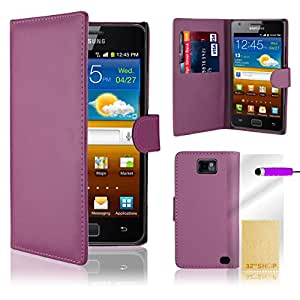 Purple Flip Wallet Leather CASE COVER FOR SAMSUNG GALAXY i9100 S2 + Free Screen Protector, Cloth and stylus Pen Exclusive by ihomegadget