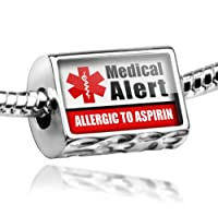"Neonblond Beads Medical Alert Red ""Allergic to Aspirin"" - Fits Pandora Charm Bracelet by NEONBLOND Jewelry & Accessories"