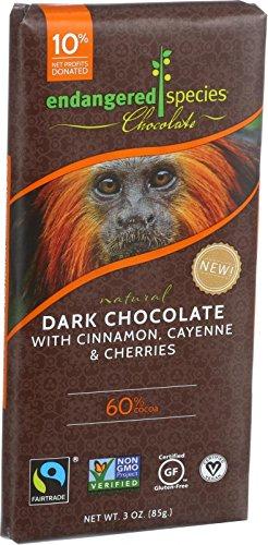 Endangered Species Dark Chocolate, Cinnamon/Cayenne/Cherries, 3 oz (Cayenne Chocolate compare prices)