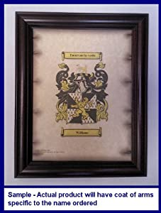 Mcgriff Coat of Arms on Aged Parchment Look 8 1/2 x 11 Paper in Classic Mahogany Frame