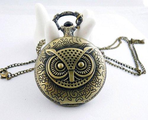 Calidia Eulen Halskette mit Taschenuhr