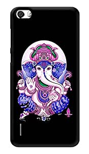 "Humor Gang Ganesha Hindu God - Black Printed Designer Mobile Back Cover For ""Huawei Honor 6"" (3D, Glossy, Premium Quality Snap On Case)"