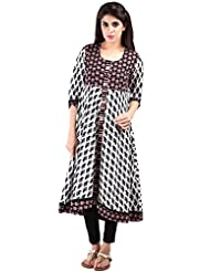 AARR Round Neck Casual 3/4 Sleeve Cotton Anarkali Kurta - B017IFUCJ8