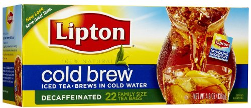Lipton Black Tea Bags, Cold Brew, Decaf, 22 Ct