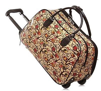 LIGHTWEIGHT High Quality Fashion Ladies Travel Bags Holdall Hand Luggage Womens Weekend Handbag Wheeled Trolley (FASHION BAG BEIGE OWL DESIGN) IDEAL BAG FOR OVERNIGHT & WEEKENDS WOMENS GIRLS TRAVEL FLIGHT LUGGAGE MATERNITY HOSPITAL SPORT GYM BAGS