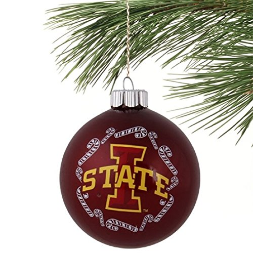 "Iowa State Cyclones NCAA 2 5/8"" Painted Round Candy Cane Christmas Tree Ornament"
