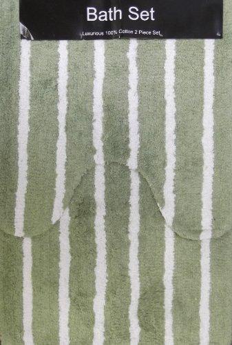 Stripe Stripey Light Green White 2 Piece 100% Cotton Bath Mat And Pedestal Set For the Bathroom