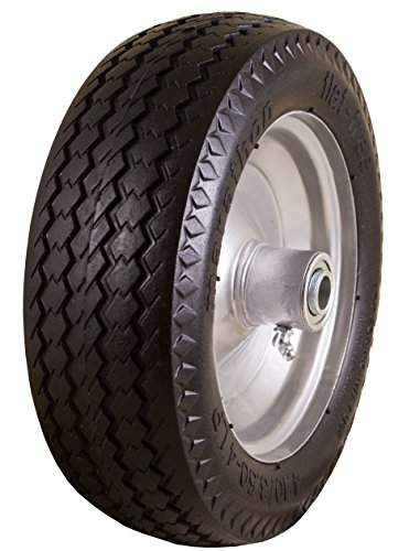 Marathon Industries 00010 4.10/3.50 -4-Inch Flat Free Hand Truck/Utility Tire, 2.25-Inch Offset Hub, 5/8-Inch Bearing, 10-Inch Tire Diameter