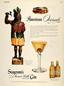 1947 Ad Seagrams Ancient Bottle Dry Gin Native American - Original Print Ad