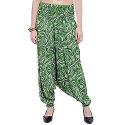 TUNTUK Womens Afgani Pants Green Viscose Harem Pant
