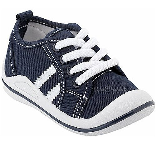 Wee Squeak Baby Toddler Little Boys Navy White Tennis Shoes 3-12