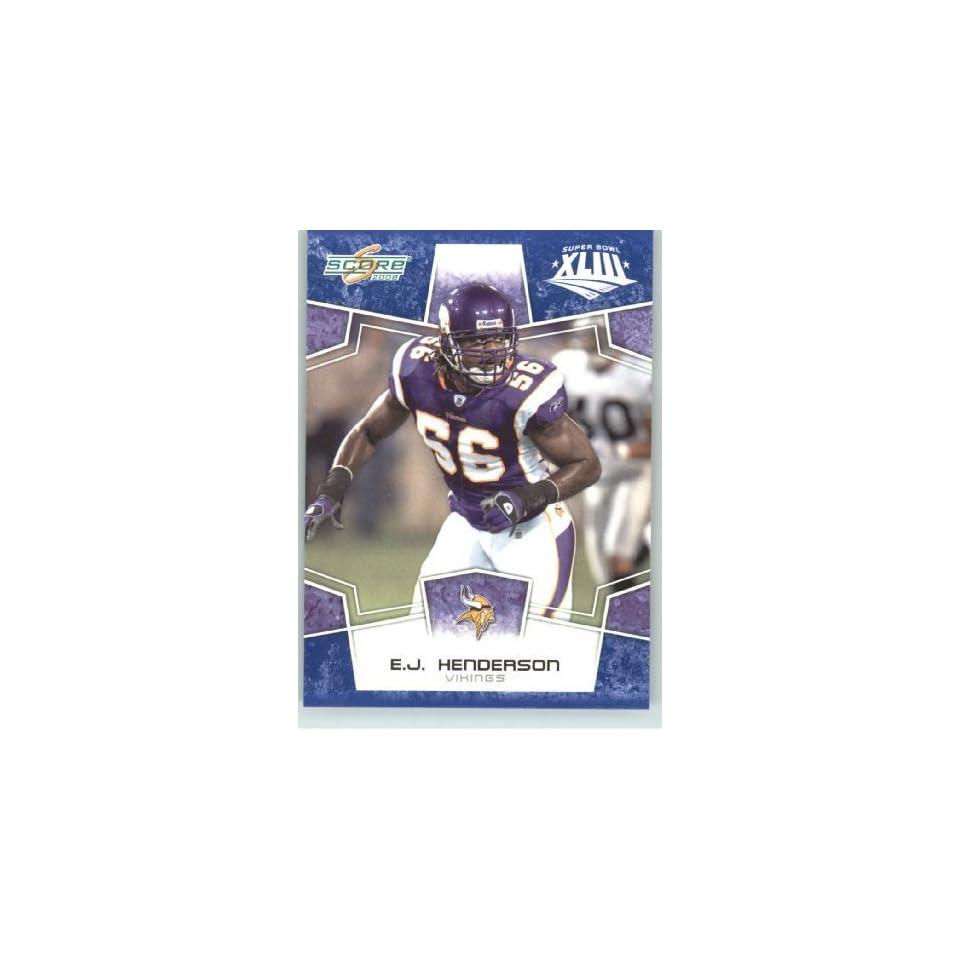 2008 Donruss   Score Limited Edition Super Bowl XLIII Blue Border # 179 E.J. Henderson   Minnesota Vikings   NFL Trading Card