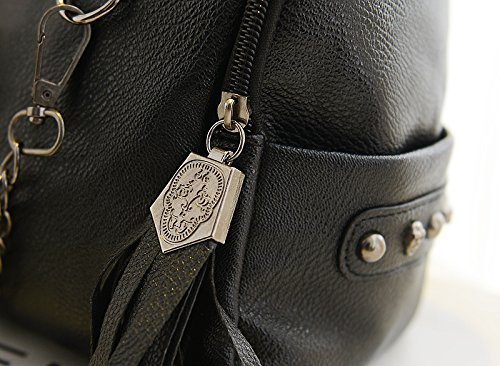 IMaySon Women Lady Black Skull Handbag Shoulder PU Leather Hobo Sling Bag