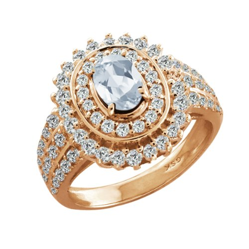 2.67 Ct Oval Sky Blue Aquamarine Rose Gold Plated Sterling Silver Woman's Ring