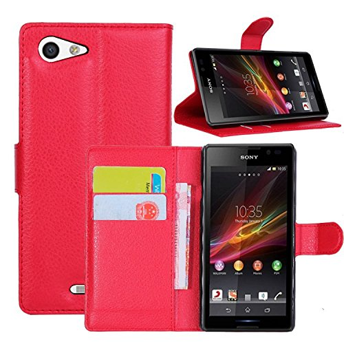 JUJEO Litchi Texture Leather Bracket Wallet Shell for Sony Xperia E3 D2203 D2206 - Non-Retail Packaging - Red