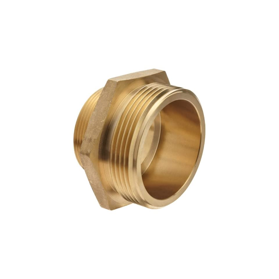 Moon 358 2062521 Cast Brass Fire Hose Hydrant Adapter, Hex, 2 1/2 NST Male x 2 NPT Male