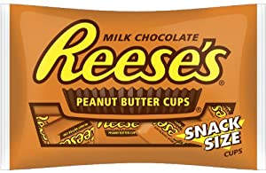 Reese's Peanut Butter Cups, Snack Size, 10.5-Ounce Packages (Pack of 6)