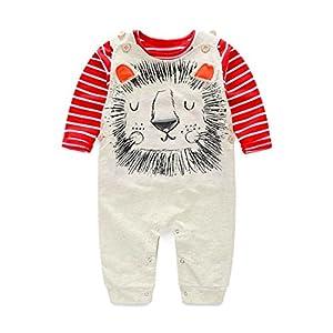 HANYI Newborn Infant Kids Baby Boy Girl Bib Pants Rompers (12M, Red)