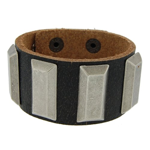 Genuine Leather Studded Black Vintage Biker Bracelet