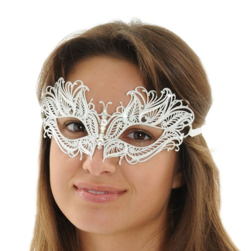 Masks Int Womens White Mask Sparkling Masquerade Butterfly Mask Rhinestone