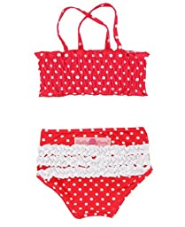 RuffleButts® Little Girls Ruched Ruffled Polka Dot Bikini - Red - 3T