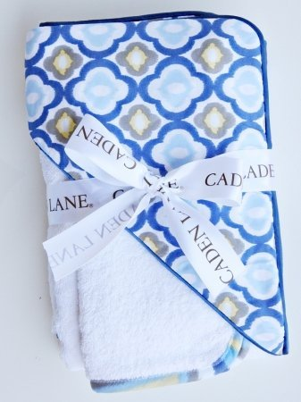 Caden Lane Ikat Collection Mod Hooded Towel Set, Blue, Infant