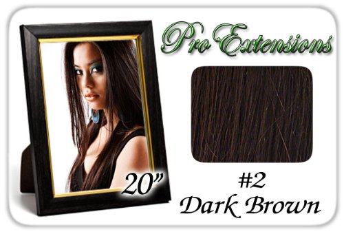 "Pro Extensions 20"" x 39"" #2 Dark Brown 100% Clip on in Human Hair Extensions"