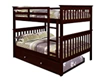 Hot Sale Bunk Bed Full over Full with Trundle in Cappuccino