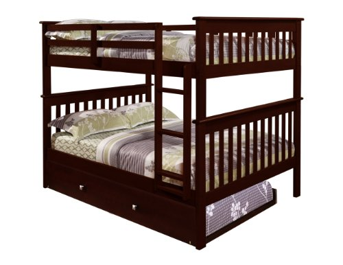 Cheap Bunk Bed Full over Full with Trundle in