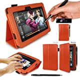 G-HUB PropUp Case Cover in Orange Carbon Fibre Print for (Original model, not newest 2013 model) Case includes: integrated stand function & magnetic sleep sensors & BONUS G-HUB ProPen Stylus