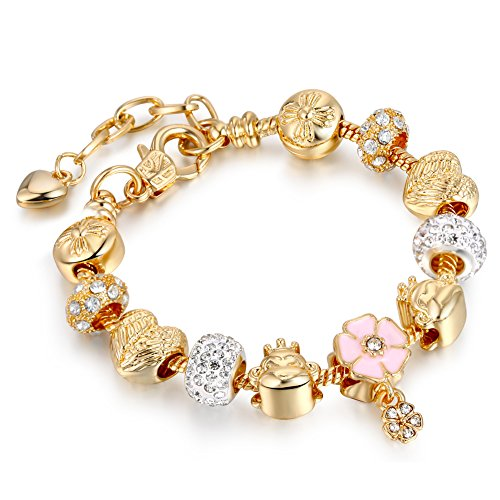 Bracelets gold plated snake chain bracelets pendant pink flower bracelets gold plated snake chain bracelets pendant pink flower glass crystal beads charms bracelets for women aloadofball Images