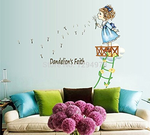 FunnyCraft Cute Lovely Little Girl Blow Dandelion Diy Removable Wall Stickers Children'S Room Nursery Home Decor Mural Decal Perfect Wall Stickers (Jacks Big Music Show Toys compare prices)