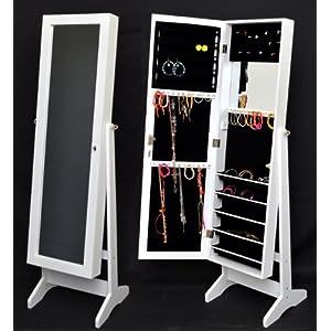 Armadio gioielli con specchio casetta in piedi specchio gioielli cabinet gioielli petto di cassetti  per montaggio a muro e porta  con specchio interno  in bianco   recensione