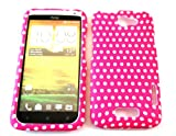 Designer Retro Shabby Chic Vintage Pink Dots Htc One X Case Full Cover Front and Back