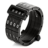 Justeel Men Stainless Steel Ring Band Black White Password Combined Unique Size Z+1(with Gift Bag) (Width: 0.51