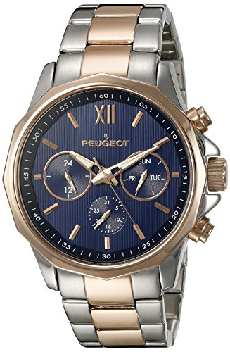 Peugeot Men's Stainless Steel and Rose Gold Multi-function Calendar Watch